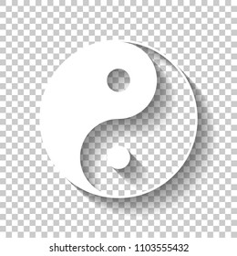 yin yan symbol. White icon with shadow on transparent background
