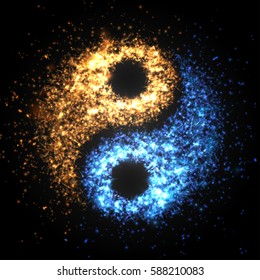 Yin yang abstract wallpaper, light and fire particles . Vector illustration