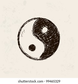 yin and yang artistic hand drawn symbol in grunge background