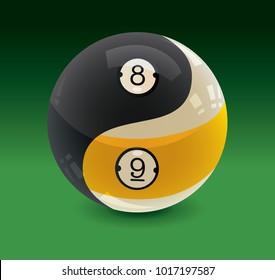 Yin Yang Billiards Balls 8-Ball & 9-Ball