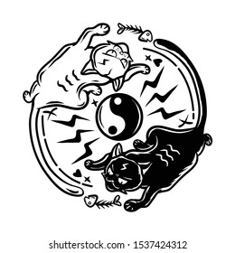 Yin Yang Cats vector illustration. Black and white cats yin yang shape. Cat want fish bones. Button logo with light and love