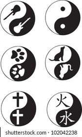Yin Yang collection (dog and cat) (paw prints) (cross) (fire and water) (guitar)