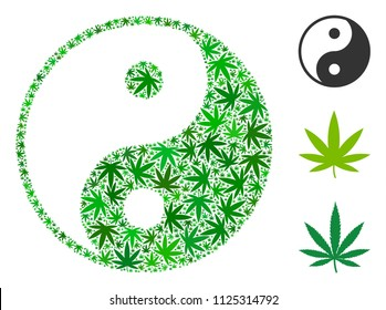 Yin yang composition of hemp leaves in various sizes and green tinges. Vector flat hemp symbols are combined into yin yang collage. Addiction vector design concept.
