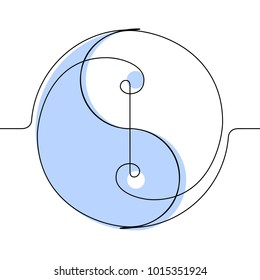 Yin & Yang Continuous Line Vector