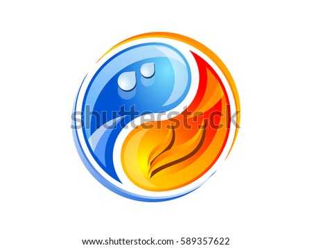 Yin Yang Fire Ice Part 2 Stock Vector Royalty Free 589357622