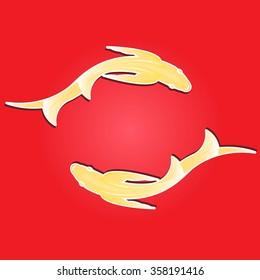 Yin Yang Fish Feng Shui Wallpaper Stock Vector Royalty Free 358191416
