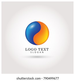 Yin Yang Globe & Color Logo. Symbol & Icon Vector Template.