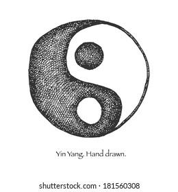 yin yang. hand drawn. vector eps 8