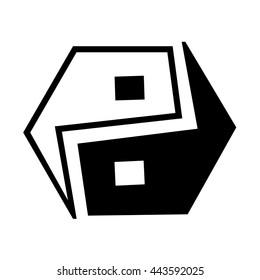 yin yang and hexagone logo