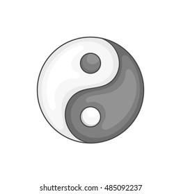 Yin Yang icon in black monochrome style isolated on white background. Religion symbol vector illustration