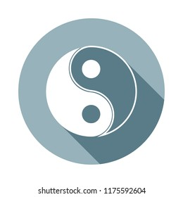 yin yang icon in Flat long shadow style. One of web collection icon can be used for UI, UX
