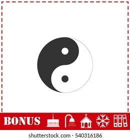 Yin Yang icon flat. Simple vector symbol and bonus icon