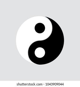 Yin yang icon isolated of flat style. Vector illustration.