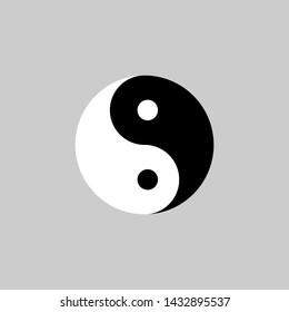 Yin Yang icon. Vector illustration, flat design.