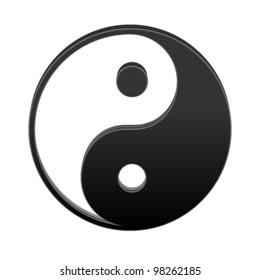 Yin yang isolated on white. Vector illustration