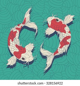 Yin Yang Koi fishes in oriental style painting. symbolize luck, fortune, or love. in blue wave background