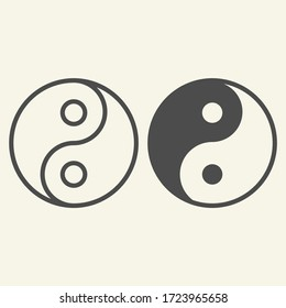 Yin Yang line and solid icon. Harmony and balance symbol, outline style pictogram on beige background. Yin-yang Buddhism philosophy sign for mobile concept and web design. Vector graphics