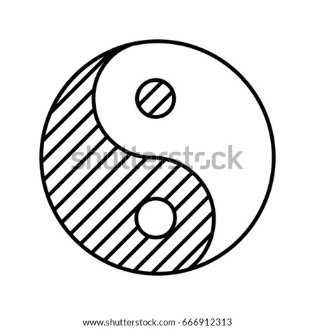 Yin Yang Linear Icon Thin Line Stock Vector Royalty Free 666912313