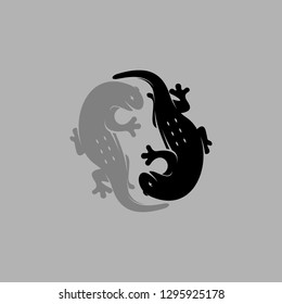 yin yang of lizard illustration. silhouette