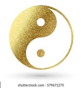 yin yang logo in gold