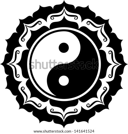 Yin Yang Lotus Chinese Symbol Taiji Stock Vector Royalty Free