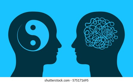 Yin yang and maze symbol in thinking heads as concept of harmony and chaos, vector illustration