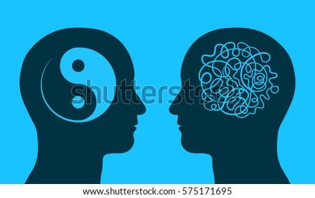 Yin Yang Maze Symbol Thinking Heads Stock Vector Royalty Free