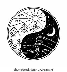 yin yang monoline outdoor badge design