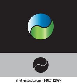yin yang natural balance logo icon design template.