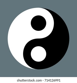 Yin Yang, oriental sacred symbol. Vector graphic on isolated background.