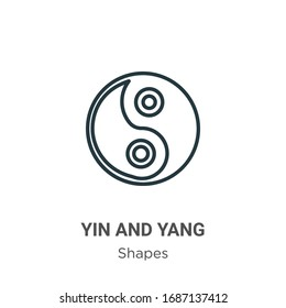 Yin and yang outline vector icon. Thin line black yin and yang icon, flat vector simple element illustration from editable shapes and symbols concept isolated stroke on white background