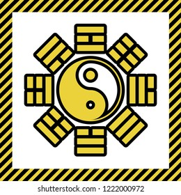 Yin and yang sign with bagua arrangement. Vector. Warm yellow icon with black contour in frame named as under construction at white background. Isolated.