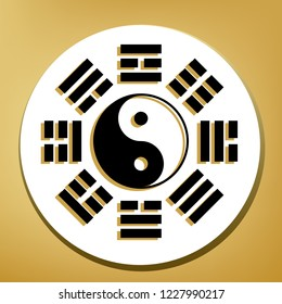 Yin and yang sign with bagua arrangement. Vector. Black icon with light brown shadow in white circle with shaped ring at golden background.