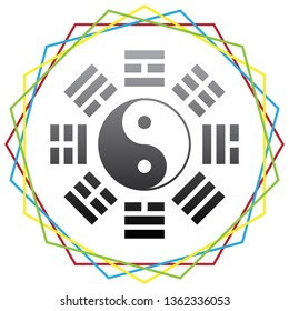 Yin and yang sign with bagua arrangement. Vector. Black icon with patch of light inside colorful hexagonal frames at white background.