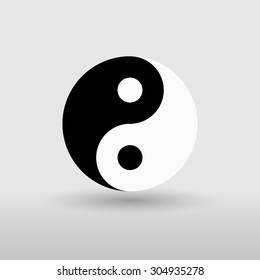 Yin Yang sign. Black and white. Isolated on gray background. Vector illustration.