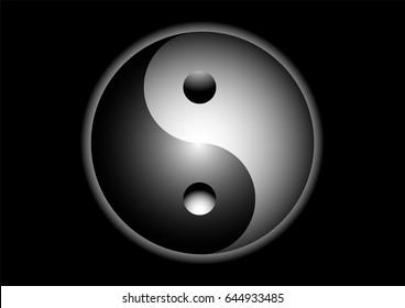 Yin Yang sign on black background