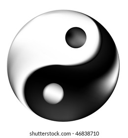 Yin Yang symbol with 3d effect
