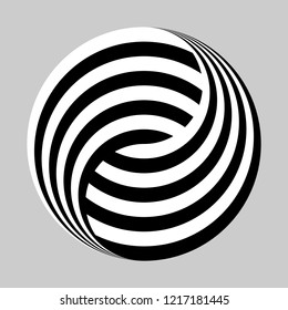 Yin and yang symbol in black and white stripes, logo design element
