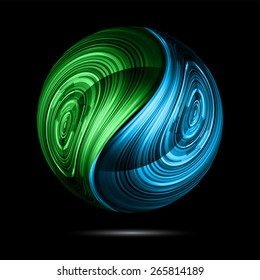 Yin yang symbol. blue green color abstract background.