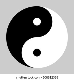 Yin Yang symbol of Chinese phylosophy describes how opposite and contrary forces may be complementary, interconnected and interdependent. Black and white illustration on grey background.