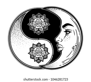 Yin and Yang symbol with crescent moon as a beautiful woman face. Beautiful vintage oriental element of harmony, balance. Round decorative meditation ornament with rose. Vector isolated illustration.