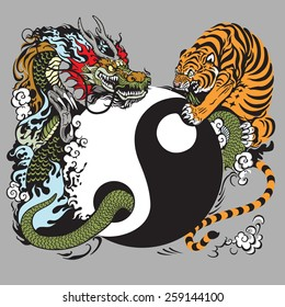 yin yang symbol with dragon and tiger fighting
