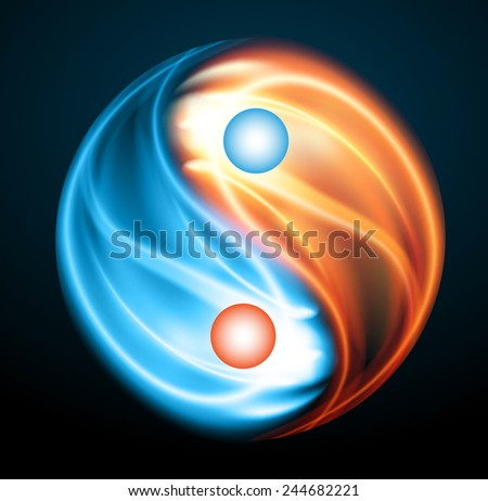 Yin Yang Symbol Fire Ice Opposite Stock Vector Royalty Free