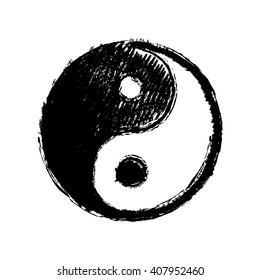 Yin Yang Symbol Hand Drawing