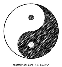 Yin yang symbol of harmony and balance with Scribble effect .