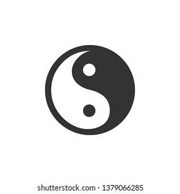 Yin Yang symbol of harmony and balance icon isolated. Flat design. Vector Illustration