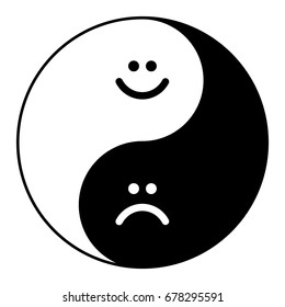 Yin yang symbol of harmony and balance happy and sad smile.