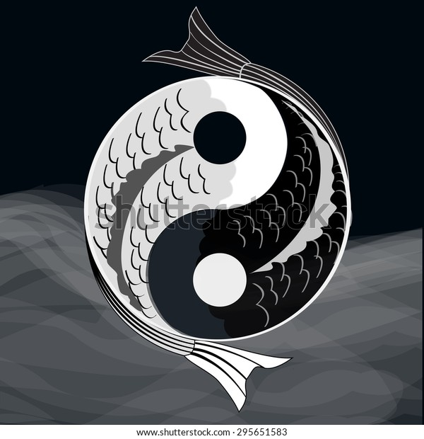 Yin yang symbol of harmony and balance with koi fish.Eps10.Vector.