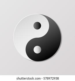 Yin yang symbol of harmony and balance.Paper art. vector illustrator