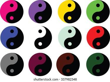Yin Yang symbol icon - colored vector illustration